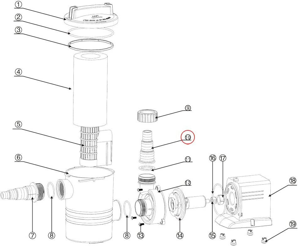 SunSun CPP-10000F Pompe de Piscine Embout /à /étages sortie Pi/èce d/étach/ée