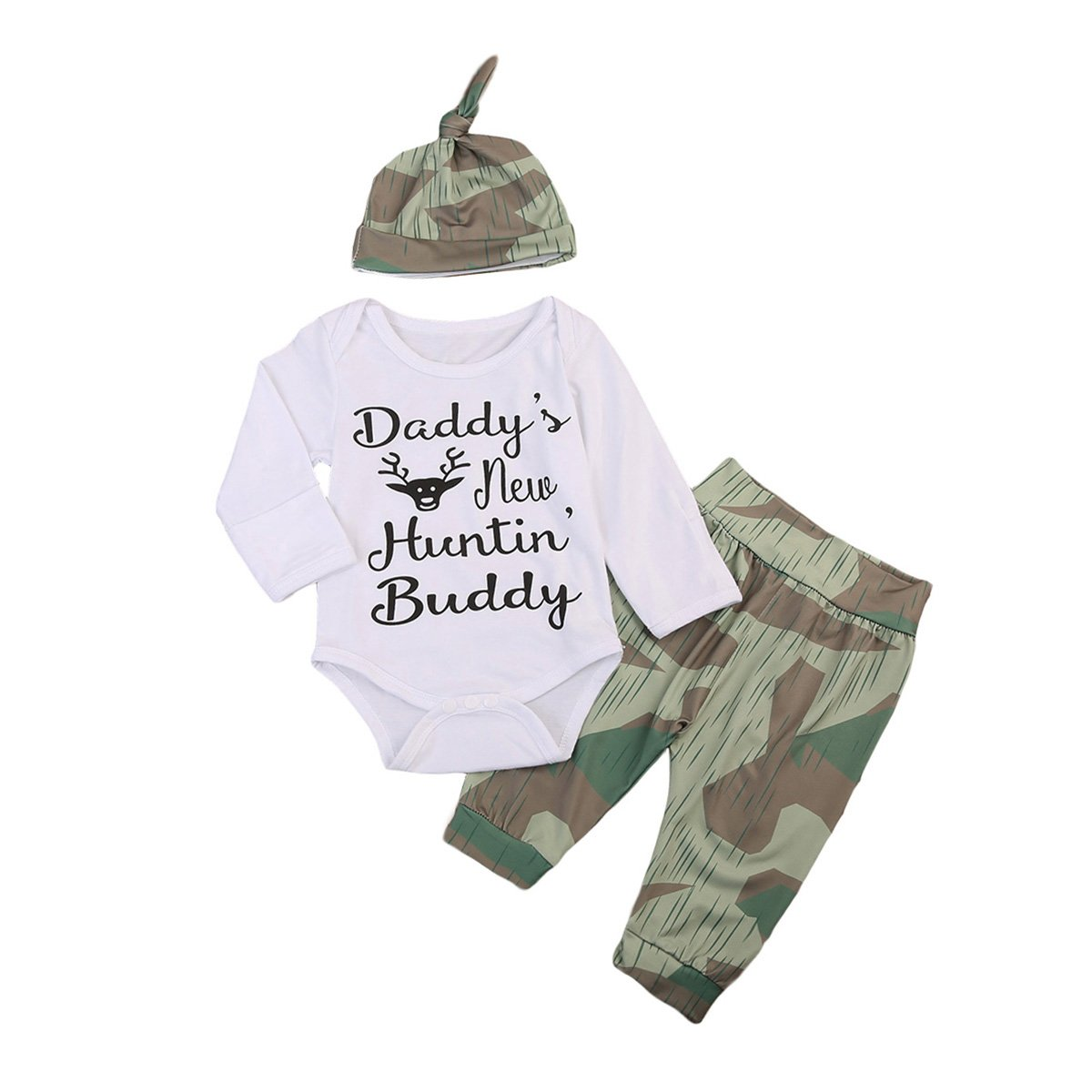 3PCS Newborn Baby Boys Cute Letter Print Romper+Camouflage Pants+Hat Outfits Set ITFABS