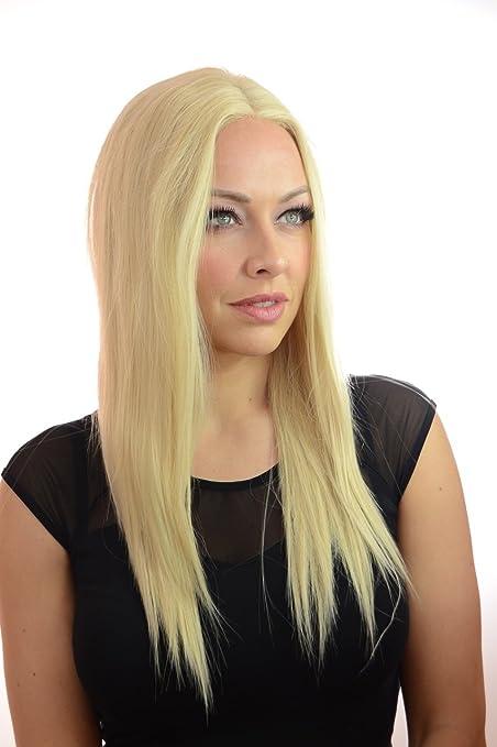 Peluca de sujeción frontal invisible de pelo largo, rubio claro y liso | Mezcla de