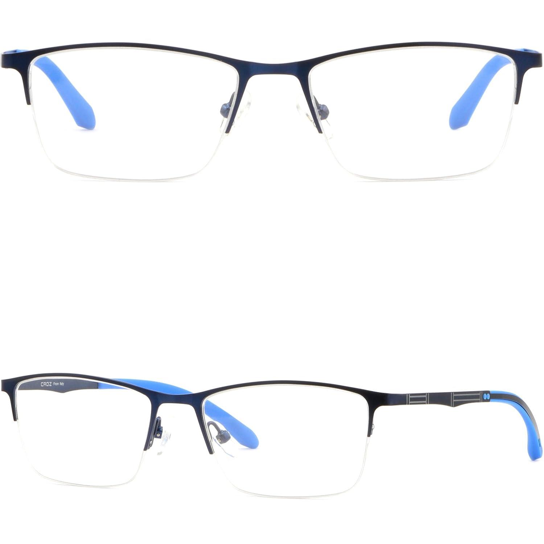 4247383f45 Amazon.com  Thin Light Men s Women s Titanium Frames Half Rim Rectangle  Glasses Navy Blue  Clothing