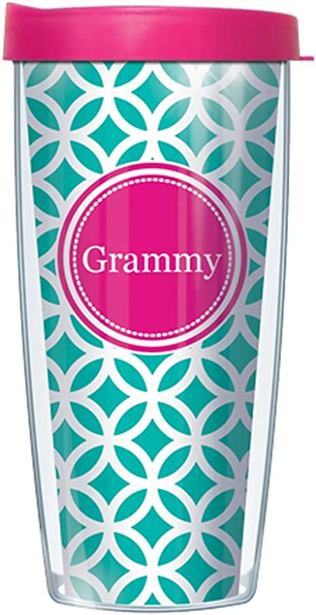 Amazon Com Signature Tumblers Pink Grammy Insignia Wrap On Teal And White Roundabout 16 Ounce Double Walled Travel Tumbler Mug With Hot Pink Easy Sip Lid Kitchen Dining