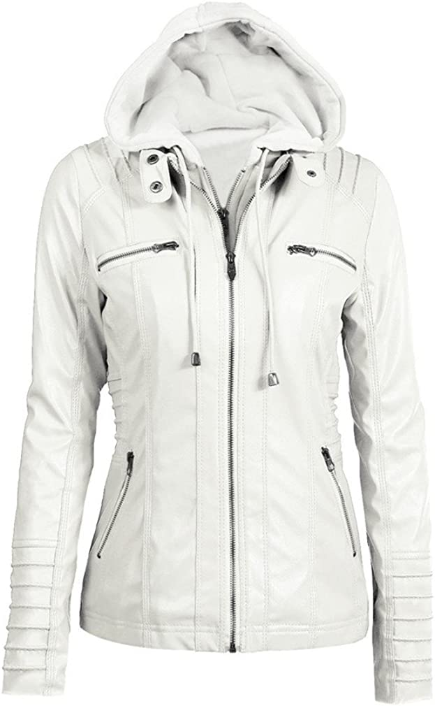 Plus Size Womens Faux Leather Autumn Winter Hooded Jacket Zippered Hoodie Short Slim Motorcycle Coat
