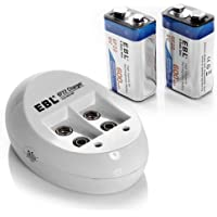 EBL Smart 9V Li-ion Battery Charger with 600mAh Li ion 9V Rechargeable Batteries 2 Pack