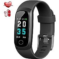 Montre Connectée, Trswyop Cardiofréquencemètre Bracelet Connecté Podomètre Etanche IP67 Femme Homme Enfant Sport Cardio Fitness Tracker d'Activité Tension Artérielle Smartwatch pour Android iOS