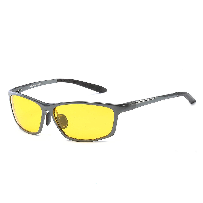 Myiaur Gafas de sol polarizadas de visión nocturna para hombre, lentes amarillas calientes, alta definición, alta calidad, con funda y gamuza de microfibra: ...