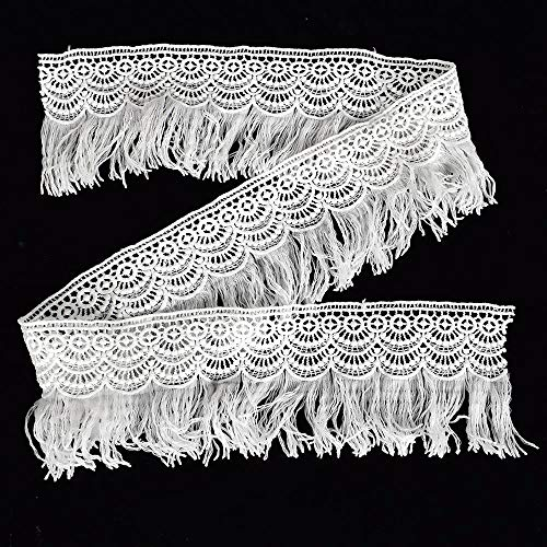 4 Yard X 9 cm Fringe Trim Lace Tassels White Lace Ribbon Gimp Sewing Accessory Clothes Decor by EORTA for Curtain Bedding Dress Costume DIY Craft
