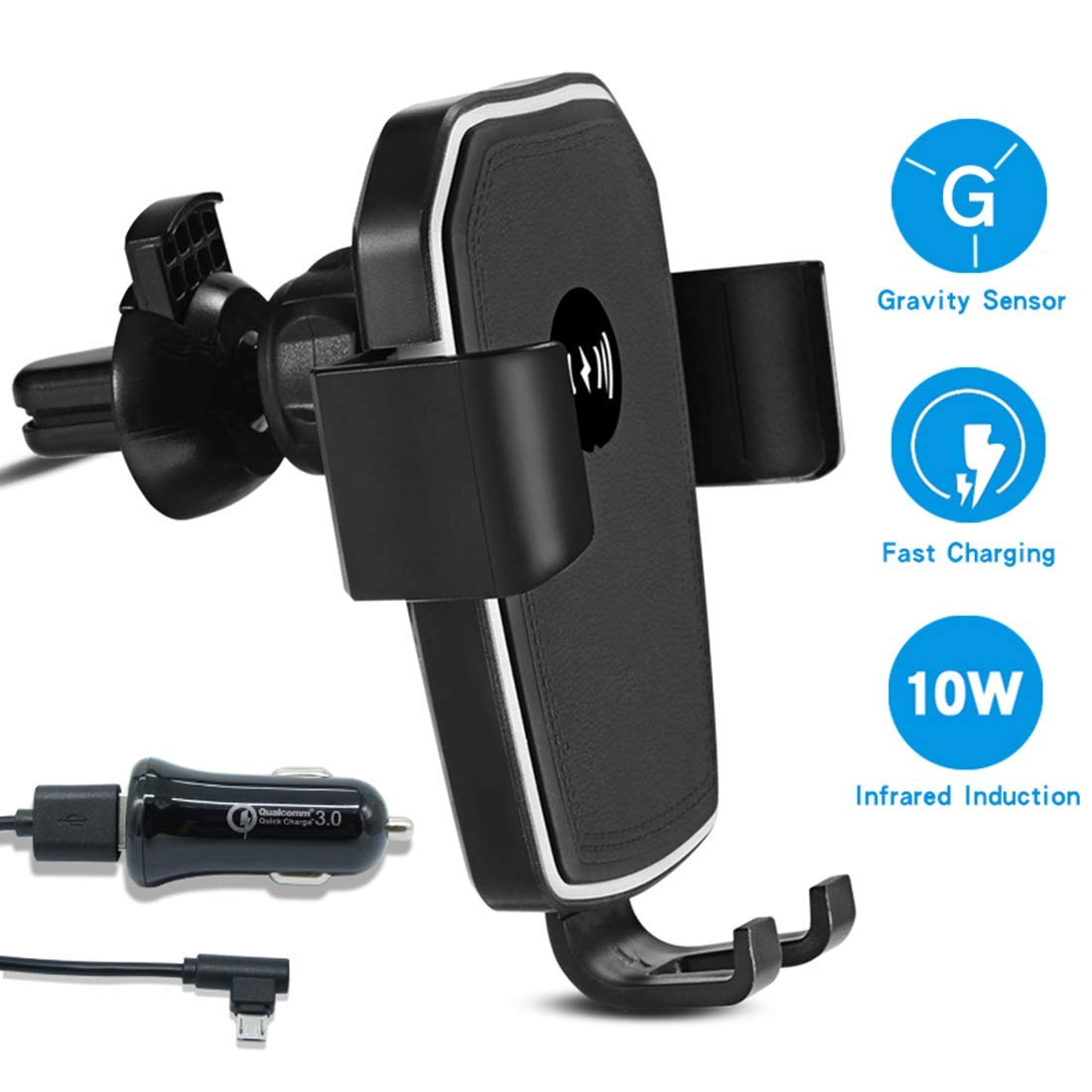 Wireless Charger Car Mount,KaiHangDa Automatic Clamping Gravity Car Phone Charger Mount,10W 7.5W QI Fast Charger Air Vent Phone Holder Compatible with iPhone Xs Max XR 8, Samsung S10 S9 S8 Note 9