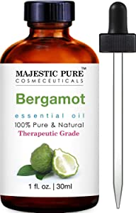 Majestic Pure Bergamot Essential Oil - 100% Pure and Natural, Therapeutic Grade Bergamot Oil, 1 fl. oz