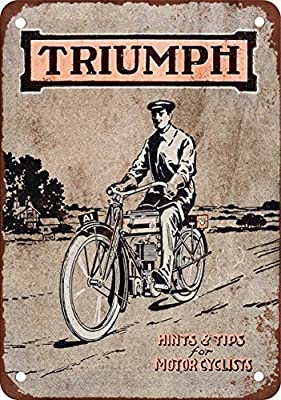 1915 Triumph Motorcycles Vintage Look Reproduction Metal Tin Sign 7X10 Inches