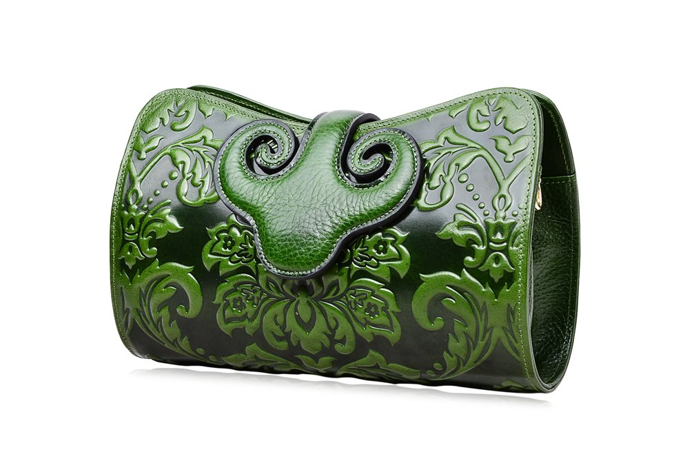 PIJUSHI Womens Crossbody Evening Bag Embossed Floral Party Purse Clutch Bags (22271, Green)