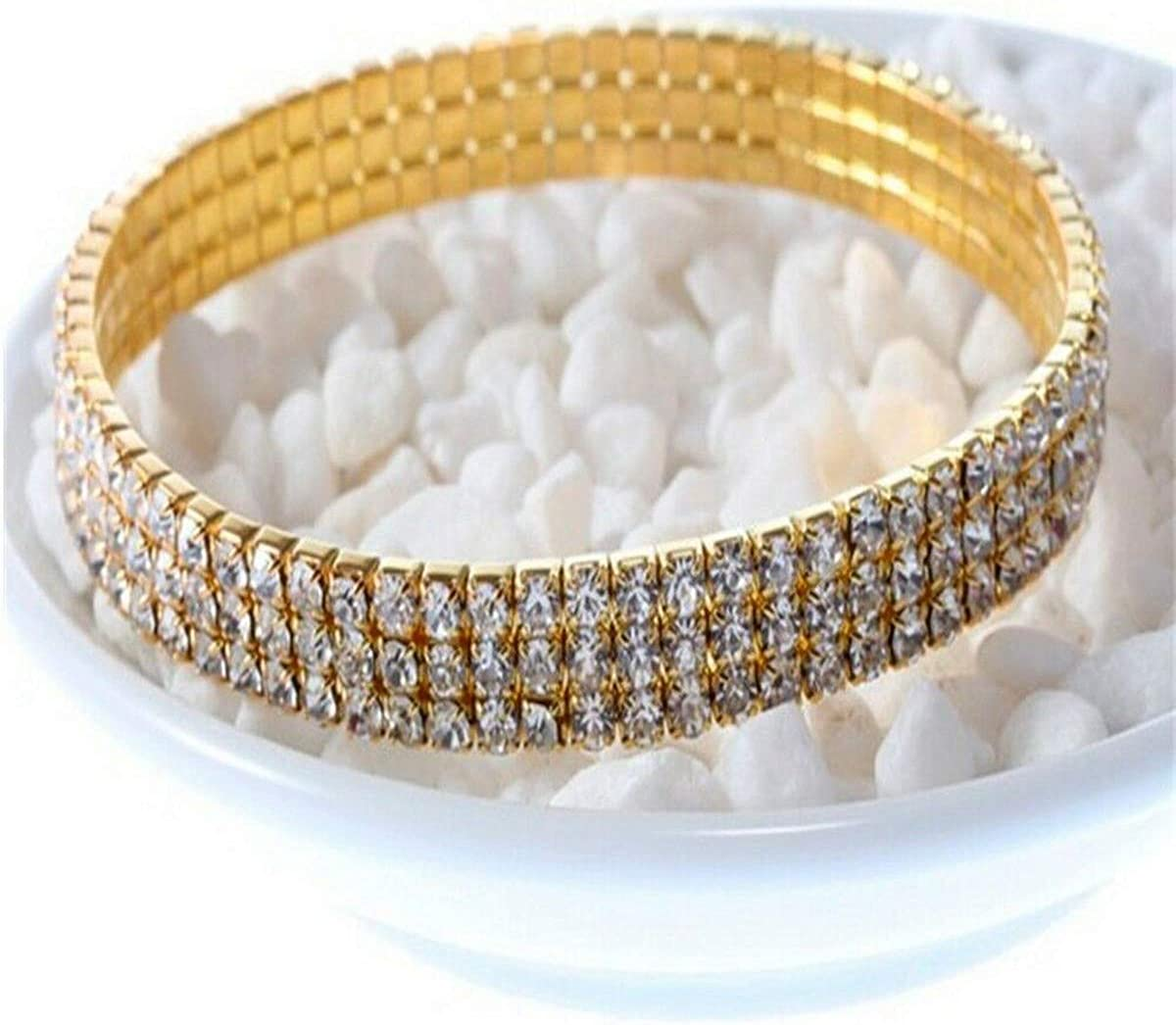 Brosco New Zircon Rhinestone Bright Party Costume Crystal Stretch Bracelet Anklet Good Bangle Fashion Cute Accessories Best Jewerly Bangles | Color - Gold