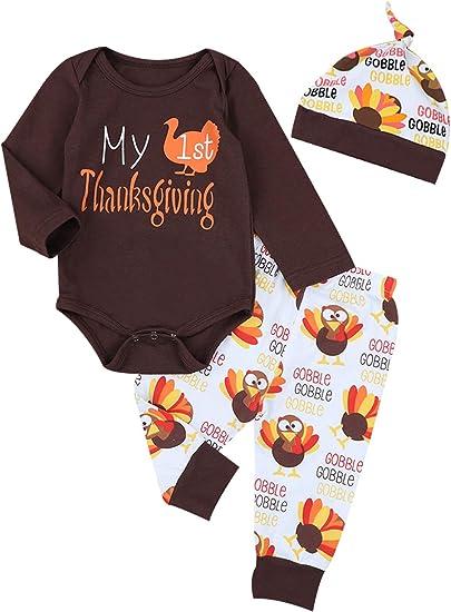 3PCS Smart Newborn Baby Kids Girl Boy Romper Tops+Pants+Hat Thanksgiving Outfits