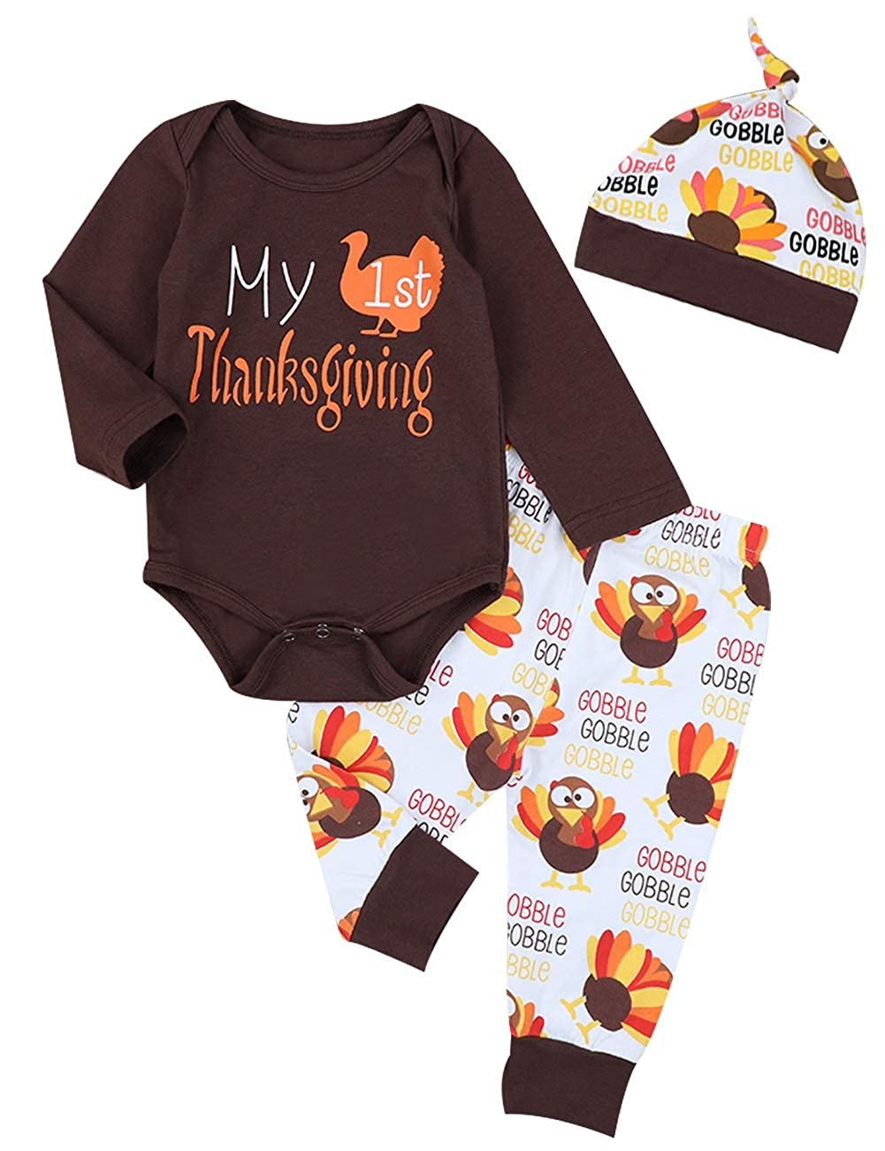 0856ebd77 Thanksgiving Outfits Newborn Boy Girl My First Thanksgiving Letter Print  Romper Turkey Print Pant with Hat Clothes Set
