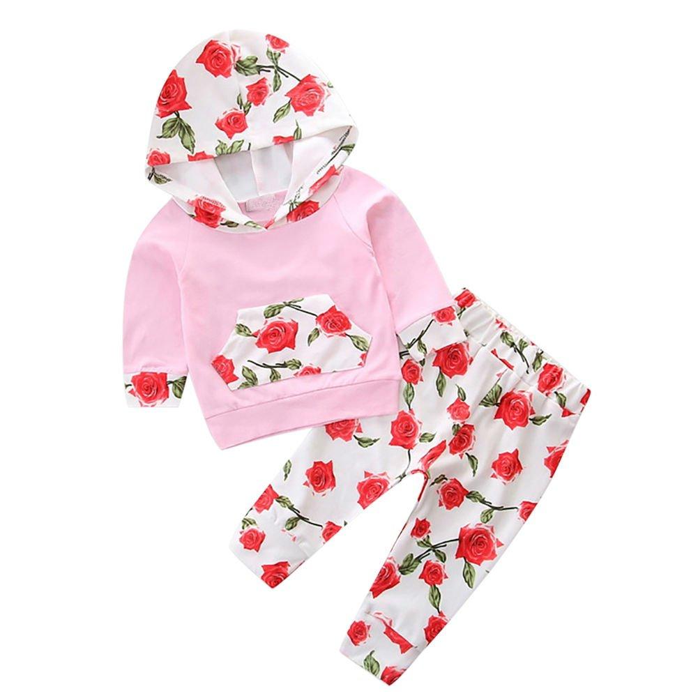 Floral Pompon Outfits /Ärmellose Kleidung Sets mit Bowknot Stirnband Baywell Baby M/ädchen Strampler Spielanzug Kleidung