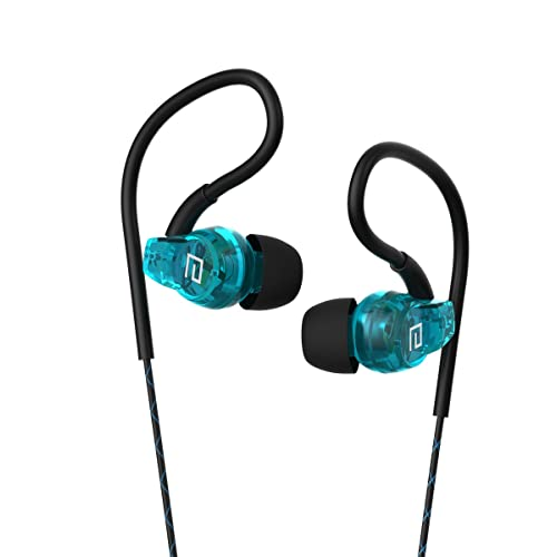 Sport Sweatproof Earphones, Langsdom SP80A Headphones with Mic for Running Gym, In Ear Earbuds for iPhone iPod iPad Tablets (With Microphone, Sport Blue)
