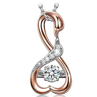more heart at com read jewellery products guess rose devotion watchshop necklace ladies gold plated