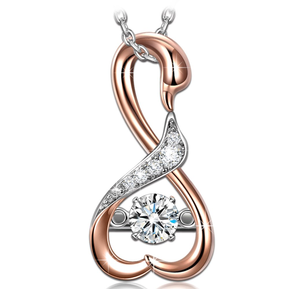 Gifts for Women Jewelry Rose Gold Necklaces for Women Gifts for Ladies Teacher Mom Dancing Stone Necklaces 925 Sterling Silver Swan Fine Jewelry for Women Birthday Gift Christmas Anniversary Present