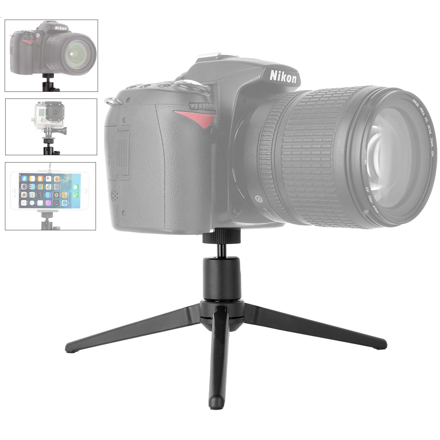 Kamisafe Aluminum Mini Tripod Desktop Tabletop Tripod Stand with 1/4 Inch Screw Compatible for Zhiyun Smooth Q/Smooth 4 /DJI OSMO Mobile 2 /Feiyu Gimbal/Gopro/Cellphones/DSLR Camera/Projector by KAMISAFE