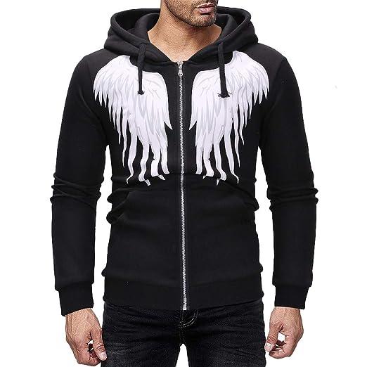 652e252b Hunzed Men【Zipper Wing Pattern Hoodie Long Sleeve Sport Sweatshirt 】 Mens  Fashion Casual Slim