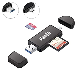 Vanja USB 3.0 SD Card Reader, USB Type C SD/Micro SD Card Reader OTG Adapter for SDXC, SDHC, SD, MMC, RS-MMC, Micro SDXC, Micro SD, Micro SDHC Card ...