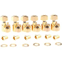 Musiclily Pro 6-in-line 2-Pins Full Metal Guitar Locking Tuners Machine Heads Tuning Pegs Keys Set for Fender Strat/Tele, Gold