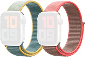 2 Pack Sport Loop for Apple Watch Bands (Sunny Day 42/44mm & Coral Pink 38/40mm)
