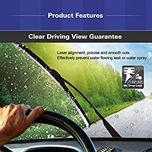Automotive Windshield Wipers without Bone 26 inch Fits All Cars General Motors Front/Rear Replacement Boneless Blade