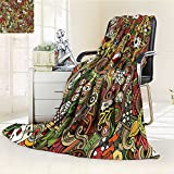 AmaPark Digital Printing Blanket Doodles Style Art Bingo Excitement Checkers King Tambourine Vegas Summer Quilt Comforter