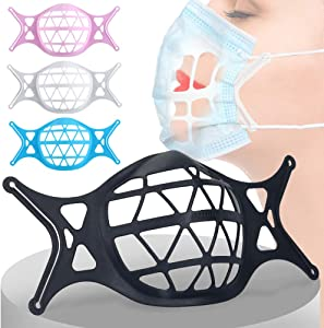 4 Pack 3D Face Mask Bracket Food Grade Silicone Inner Support Frame -Face Mask Inserts for Breathing Room for More Breathing Space, Keep Fabric off Mouth, Lipstick Protection Stand, Washable