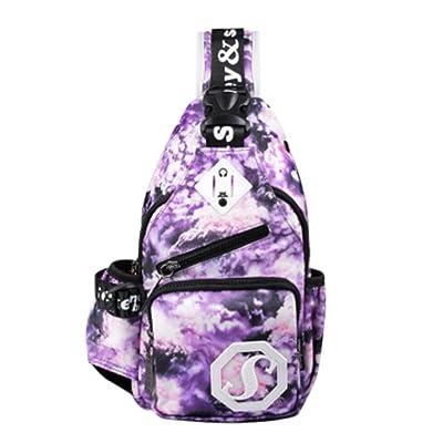 Épaule extérieure Sling Bag Chest sac à dos avec étoiles brillantes,Violet clair