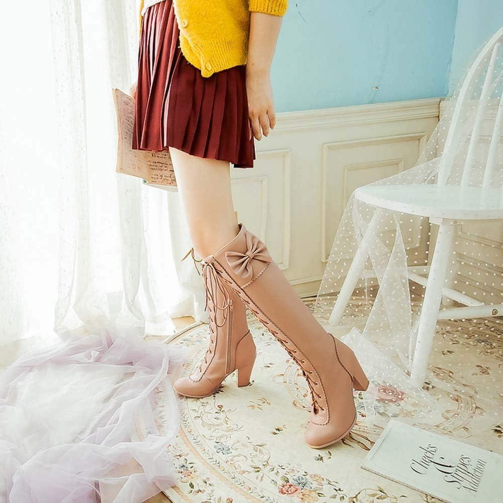 Hopsd Bow Stivali Tubo Alto Più Le Scarpe Delle Donne Di Formato Stivali Da Donna Tacco Grosso Lace-Up Apricot