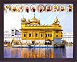 All ten Sikh guru giving blessing from holy sky to Amritsar Gurudwara Temple, A Sikh Religious painting poster with frame for Sikh family home / office / Gift Purpose / Sikh Religious / Gurudwara gi