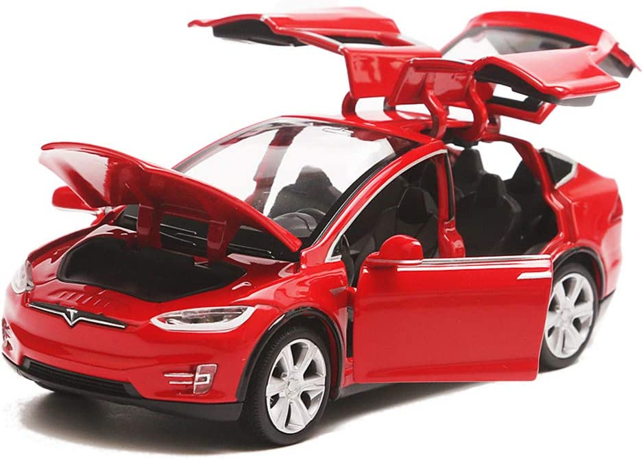 EisEyen Tesla Model X 90 1:32 Vehicle Alloy Pull Back Toy Car with Sound & Light Toy Kids Open Doors red