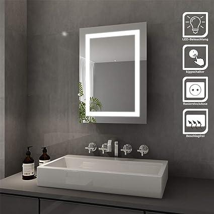 Elegant Bad Spiegelschrank mit Beleuchtung Schiebetür LED ...