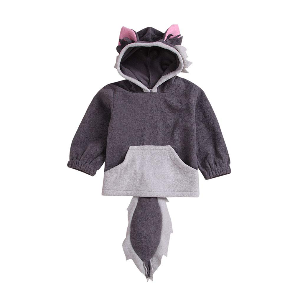 ALLAIBB Toddler Fox Costume Hoodie Baby 3D Cartoon Cute Hooded Outwear Jacket for Infant Kids Boys Girls 0-4T (Fox-Gray, 0-1T)