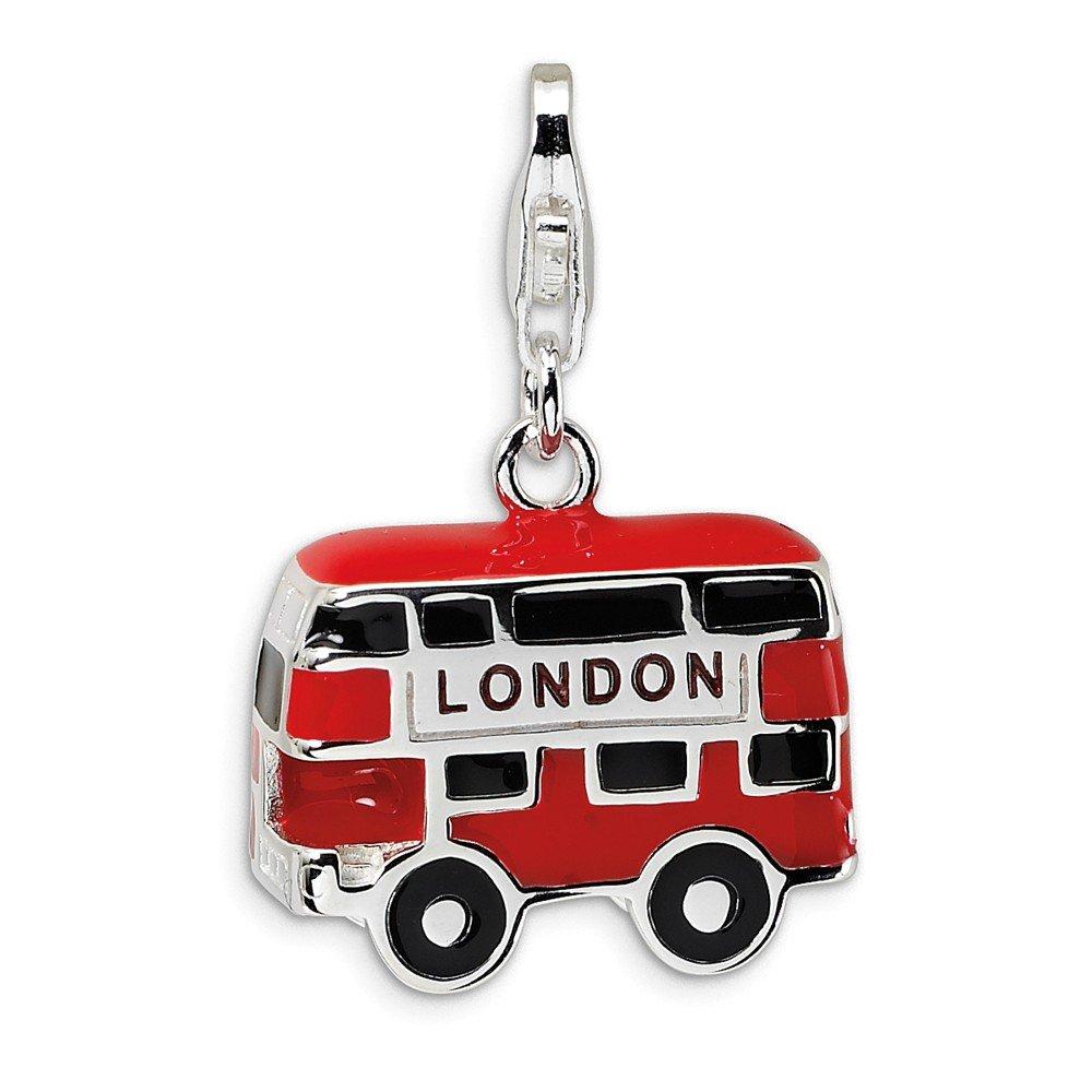 Best Designer Jewelry Sterling Silver Enamel Double Decker London Bus w/Lobster Clasp Charm