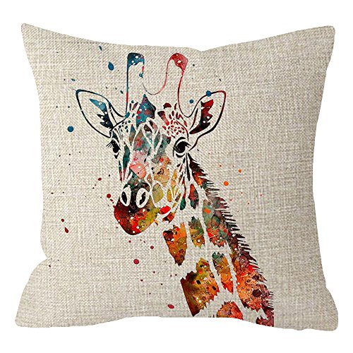 - ITFRO Nordic Simple Hand-Painted Watercolor Animal Adorable Giraffe Beige Cotton Linen Throw Pillow Case Cushion Cover Square 18 Inches
