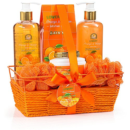 Home Spa Gift Basket - Orange & Mango Fragrance - Luxurious 7 Piece Bath & Body Set For Women & Men, Contains Shower Gel, Bubble Bath, Body Lotion, Bath Salt, 2 Bath Poufs and Handmade Basket (Scented Bubble Citrus Bath)