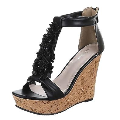 Ital-Design Damen Schuhe, ZH702, Sandaletten, High Heels Pumps Keil,  Synthetik