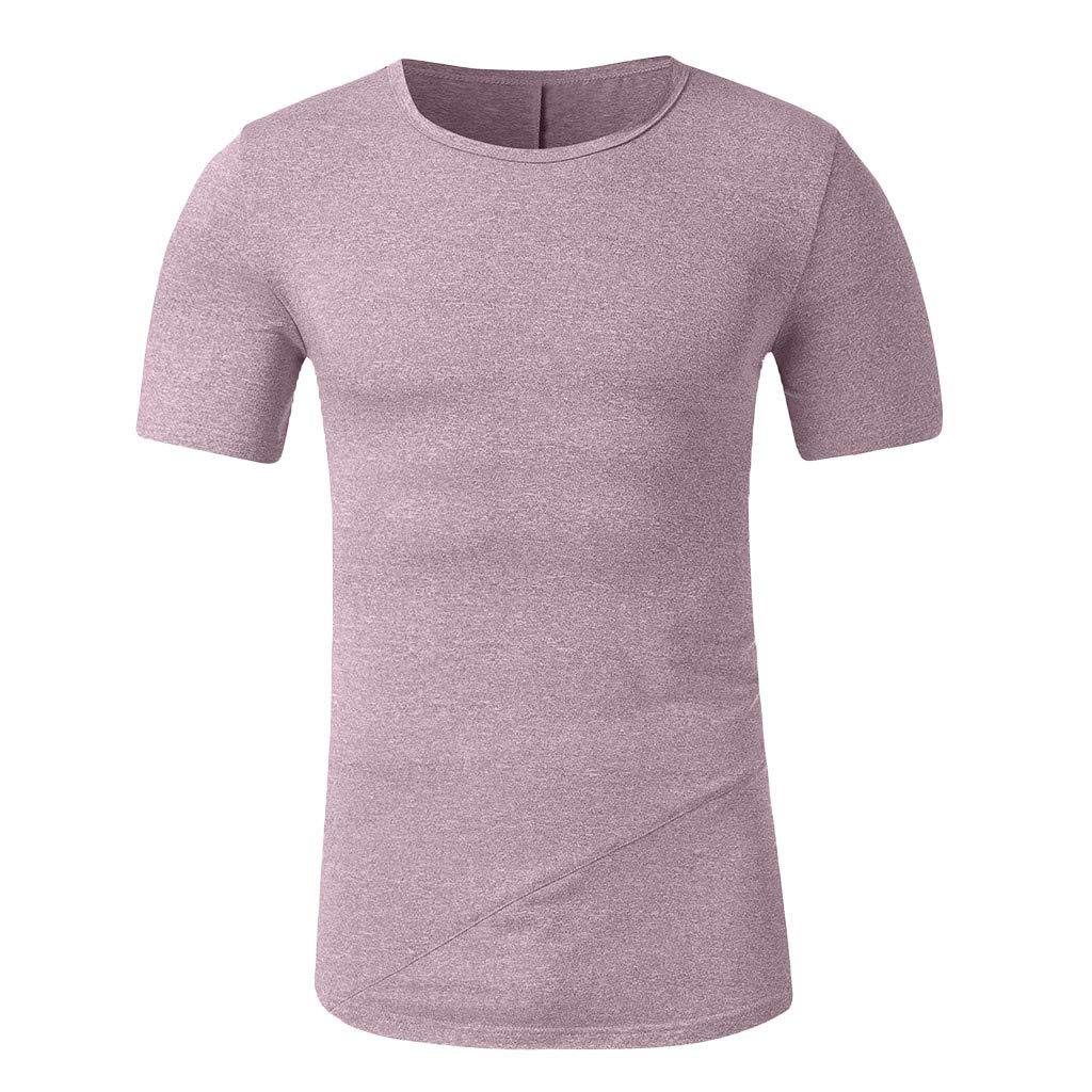 Fashion Mens Patchwork Blouse Summer Slim Casual Zipper Fit Top Short Sleeve T-Shirt