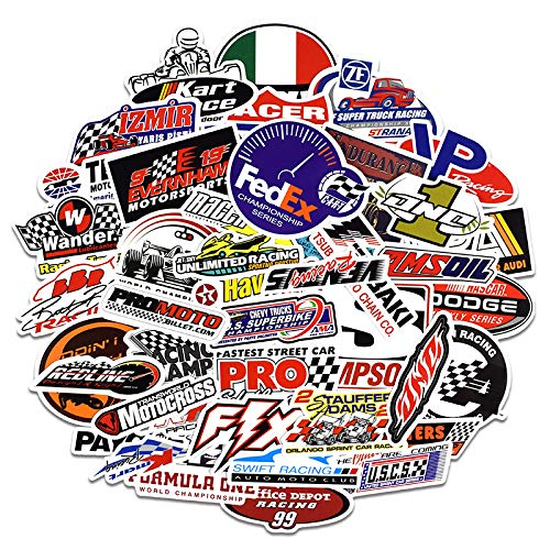 (Motorsport Cars NHRA Drag Racing Vinyl Decals Stickers Decorations for Motorcycle Skateboard Helmet 50PCS Vinyl Waterproof Stickers and Decals)