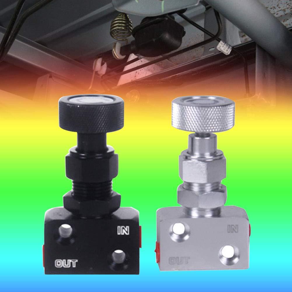 Verstellbares Proportionierungsventil kleiner Schraubdruckregler universelles Aluminium Auto Bremskraftregler Bremse Proportionierendes Schr/ägventil schwarz