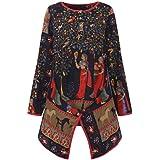 Blusas para Mujer Elegantes,Modaworld Camisa De Manga Larga Vintage para Mujer Top De Algodón y Lino Estampado Estilo Étnico Tallas Grandes para Mujer