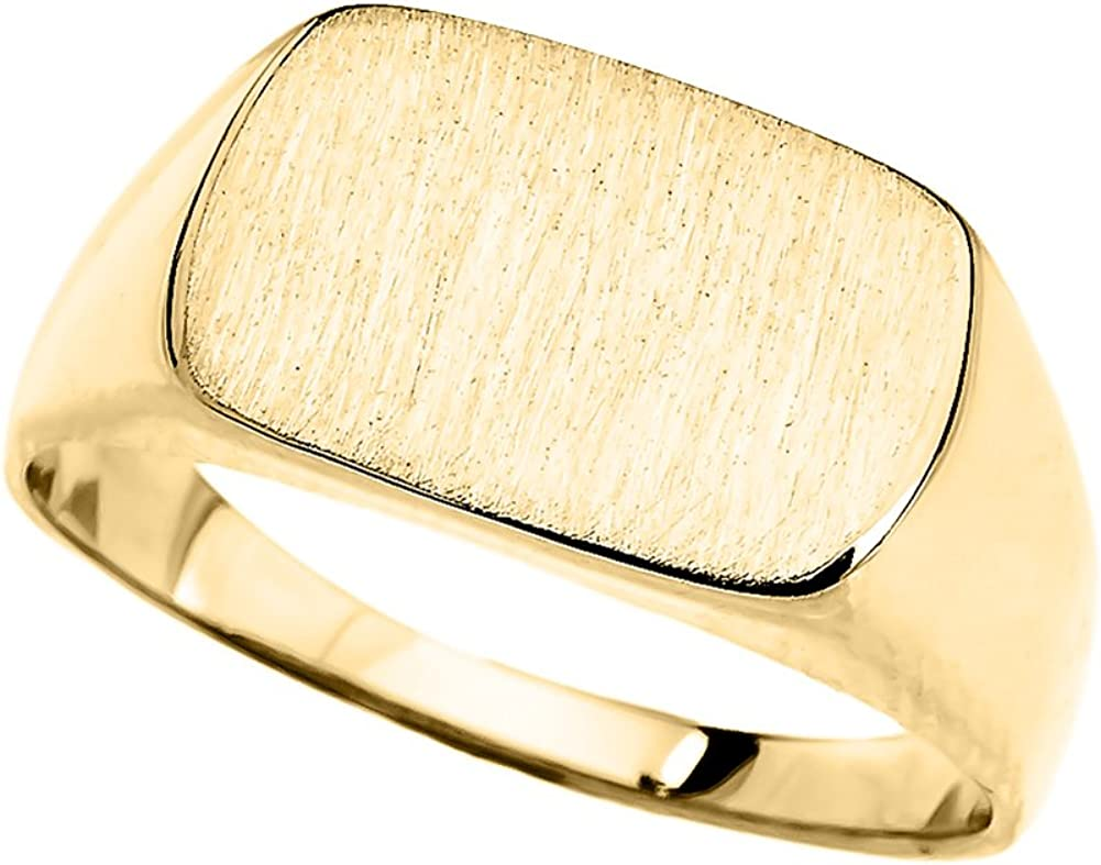 Mens 14k White Gold Engravable Cut Corner Square Octagonal Top Narrow Band Signet Ring