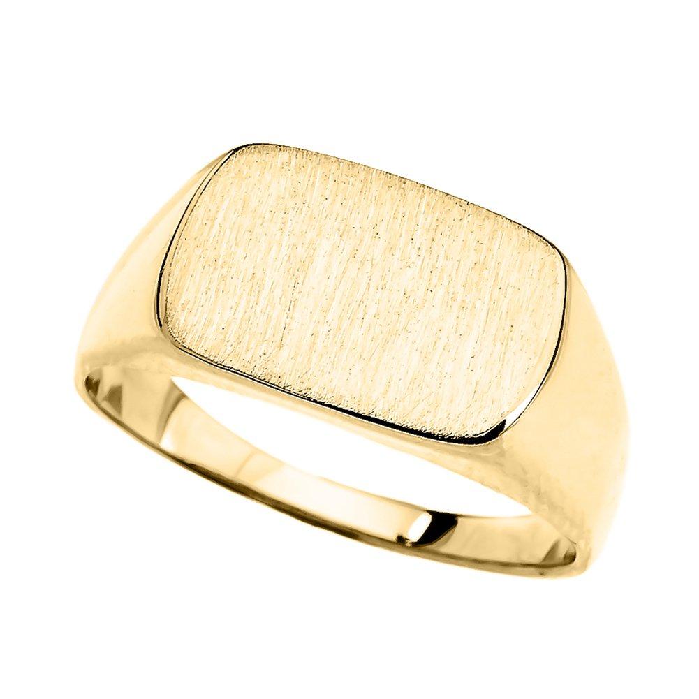 Fine 10k Yellow Gold Engravable Rectangular Signet Ring (Size 6.5)