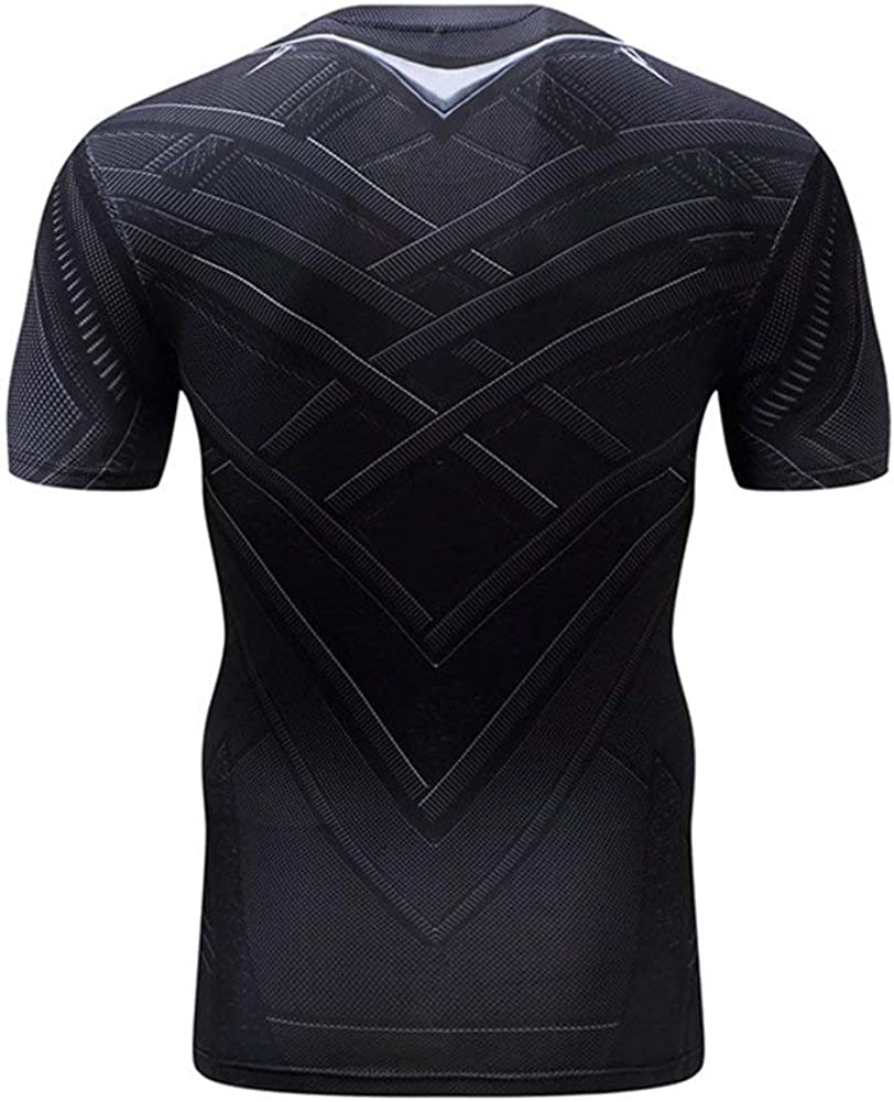 Short Sleeve Compression Workouts Gear Black Panther Party Tee Shirts L