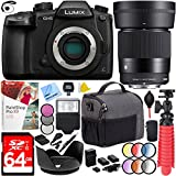 Panasonic LUMIX GH5 20.3MP 4K Mirrorless Digital Camera WiFi with Sigma 30mm F1.4 DC DN Lens for Micro 4/3 Mount Plus 64GB Triple Battery Bundle