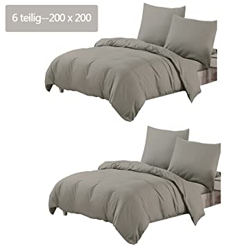 Amazonde Bettwäsche 6 Tlg 200 X 200 Cm 2 Bettbezüge Uni Grau 100