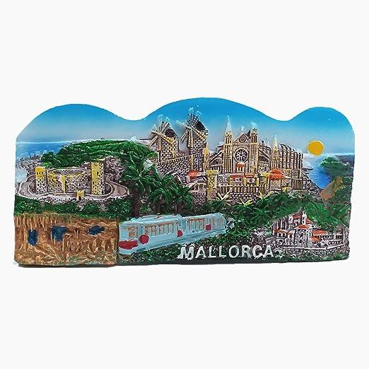 Imán en 3D de Mallorca, España, recuerdo de viaje, colección de regalo para decoración del hogar y la cocina, para pizarra blanca o nevera: Amazon.es: Hogar