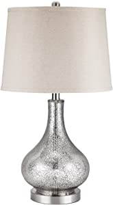 "Catalina Lighting 19560-000 Transitional 3-Way Mecury Glass Gourd Table Lamp with Linen Shade, 24"", Classic Silver"